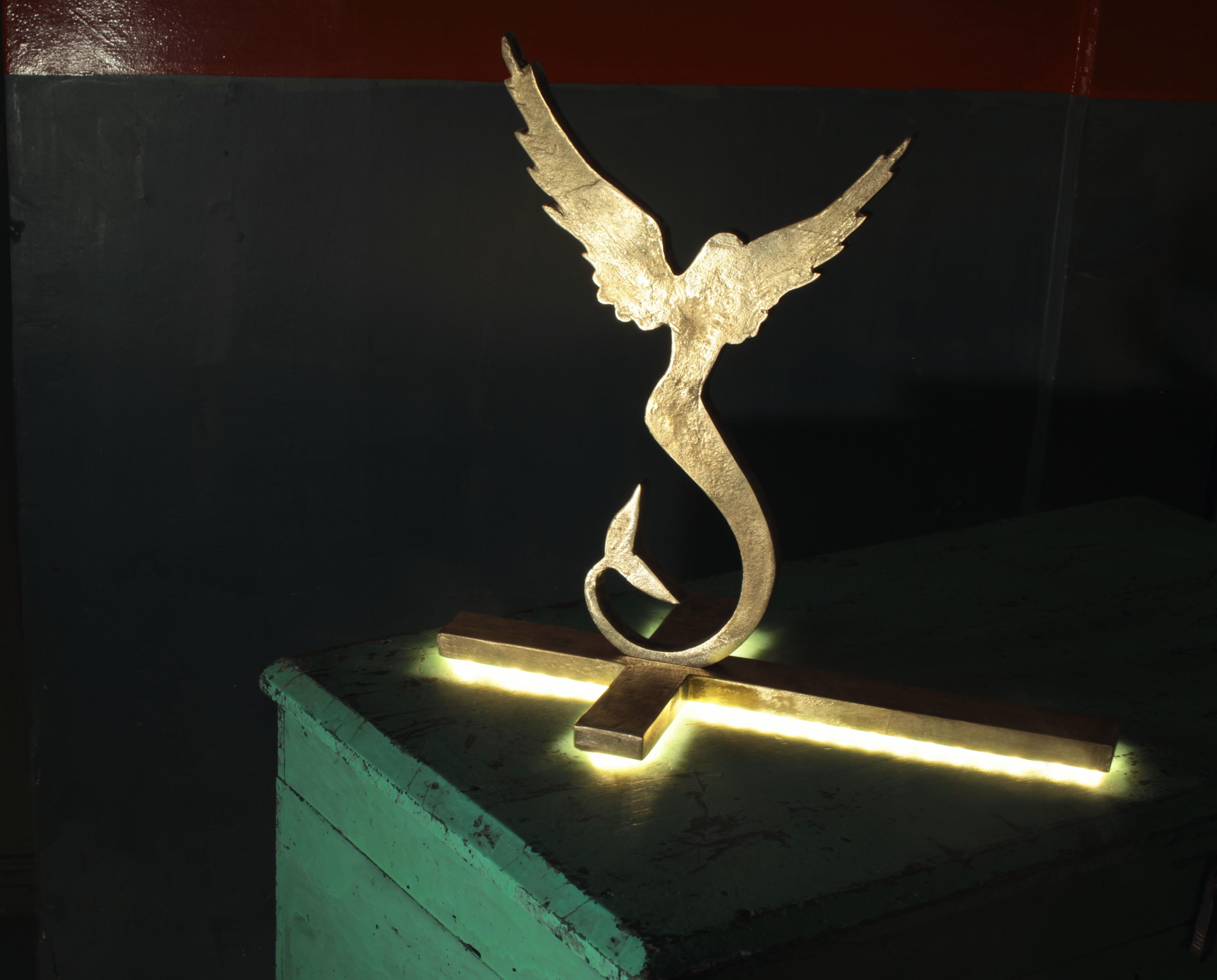 Luminaire Sirène, bronze rétro-éclairé