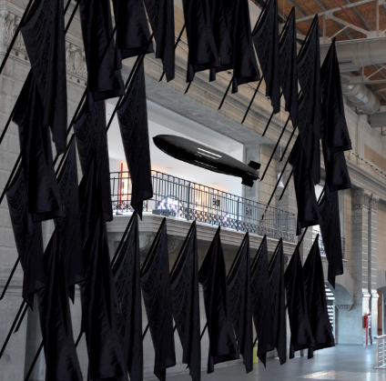 kata-legrady-little-boy-stephane-plassier-installation-drapeaux-noirs