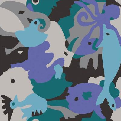 Carocim, motif éléphant, bleu