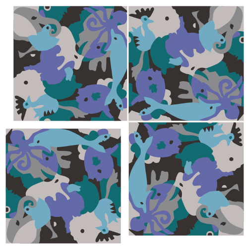 Carocim, motif éléphant, vue de 4, bleu