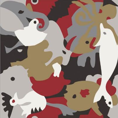 Carocim, motif éléphant, rouge
