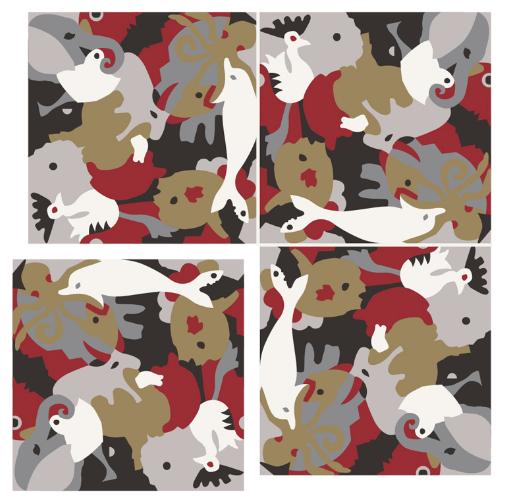 Carocim, motif éléphant, vue de 4, rouge