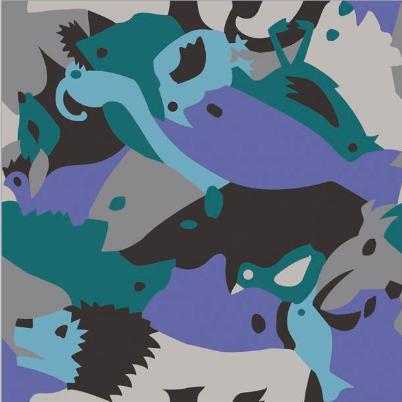 Carocim, motif lion, bleu
