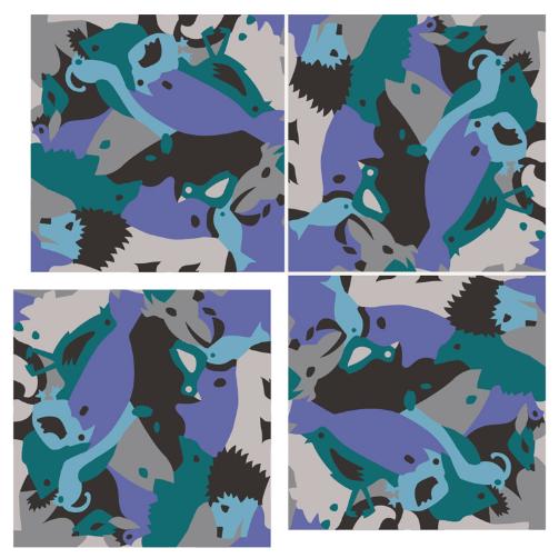 Carocim, motif lion, vue de 4, bleu