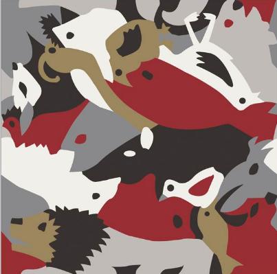 Carocim, motif lion, rouge
