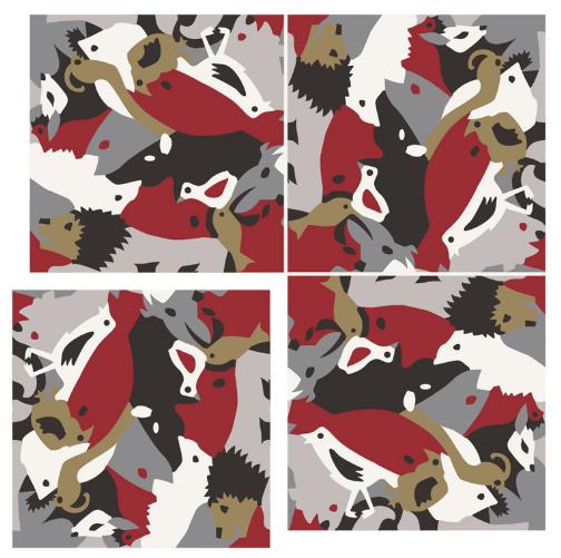 Carocim, motif lion, vue de 4, rouge